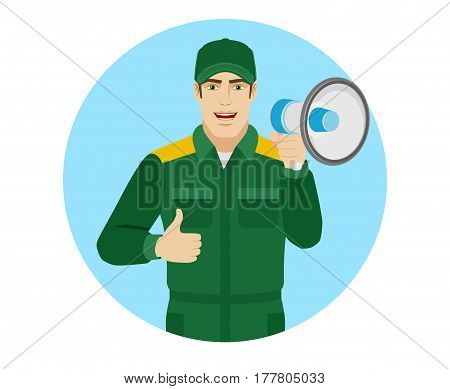 Worker holding loudspeaker and showing thumb up. Portrait of Delivery man or Worker in a flat style. Vector illustration.
