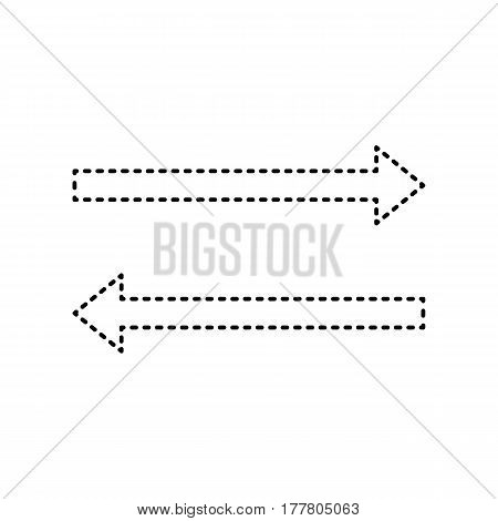 Arrow simple sign. Vector. Black dashed icon on white background. Isolated.