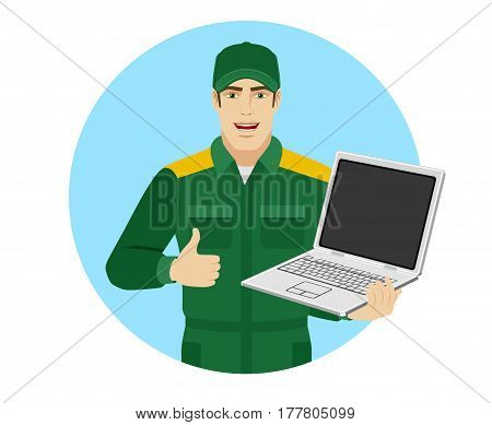 Worker holding laptop notebook and showing thumb up. Portrait of Delivery man or Worker in a flat style. Vector illustration.
