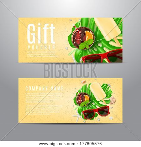 Gift voucher with summer composition. Unusual design of coupon usable for invitation and ticket. Vector illustration with sun glasses, seashells, fresh cocktail and ice cream on sea sand.