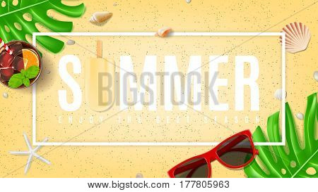 Summer beautiful background with seashells. Top view on composition with sun glasses, fresh cocktail and ice cream on sea sand. Vector illustration. Web banner of summer vacation.