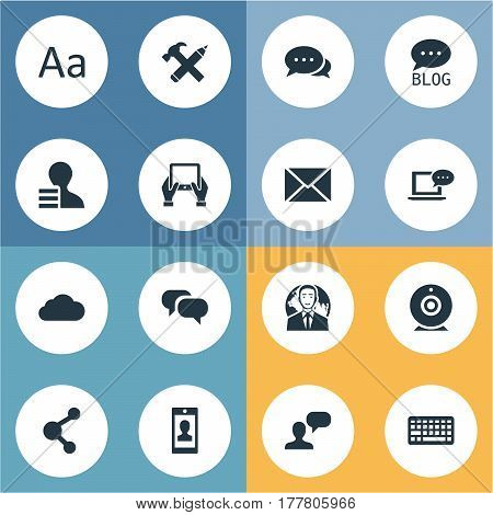 Vector Illustration Set Of Simple User Icons. Elements Site, Keypad, Gain And Other Synonyms Considering, Profit And Keyboard.