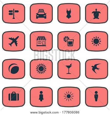 Vector Illustration Set Of Simple Beach Icons. Elements Airplane, Store, Woman And Other Synonyms Lady, Party And Suitcase.