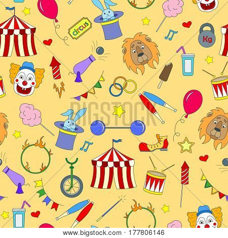 Seamless pattern on the theme of circus simple color icons on yellow background