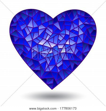 Illustration with glass blue heart isolated on white background