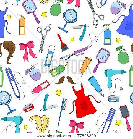 Seamless pattern on the theme of the Barber shop tools and accessories of Barber colored icons on a white background