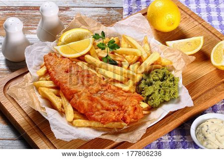 Delicious Crispy Fish And Chips On Plate