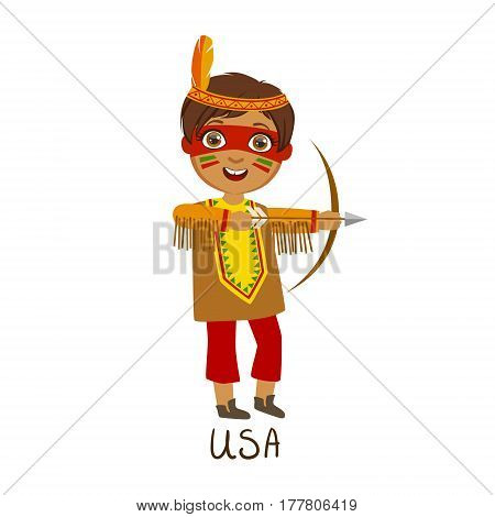 Boy In Native American Country National Clothes, Wearing Feather Headdress And A Bow Traditional For The Nation. Kid In Indian Costume Representing Nationality Cute Vector Illustration.
