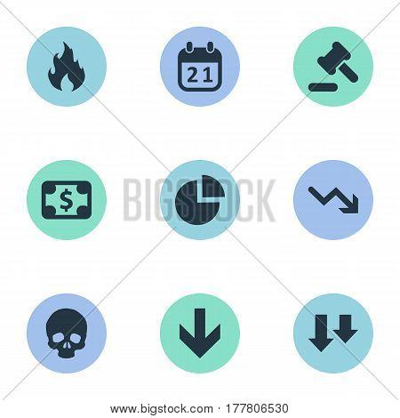 Vector Illustration Set Of Simple Impasse Icons. Elements Agenda, Tribunal, Fire And Other Synonyms Hammer, Skull And Law.