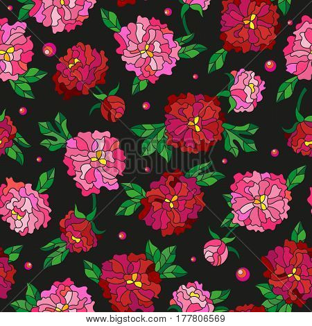 Seamless pattern with spring flowers in stained glass style flowers buds and leaves of peonies on a dark background