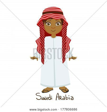 Boy In Saudi Arabia Country National Clothes, Wearing White Dress And Muslim Headdress Traditional For The Nation. Kid In Arabic Costume Representing Nationality Cute Vector Illustration.