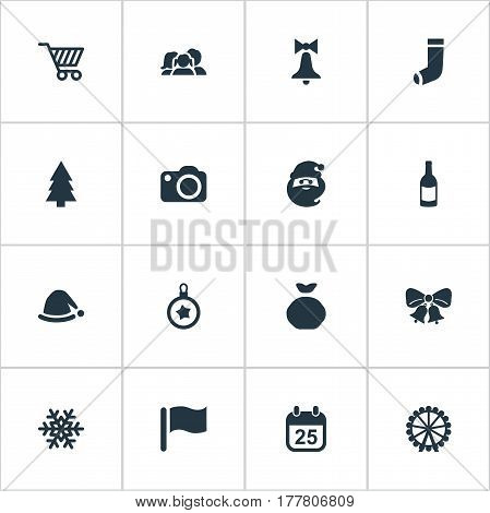 Vector Illustration Set Of Simple Celebration Icons. Elements Calendar, Christmas Decoration, Christmas Decoration And Other Synonyms Champagne, Basket And Funfair.