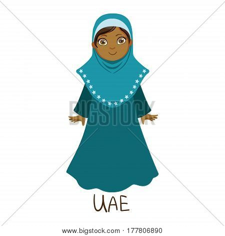 Girl In United Arab Emirates Country National Clothes, Wearing Full Body Cover Traditional For The Nation. Kid In Arabic Costume Representing Nationality Cute Vector Illustration.