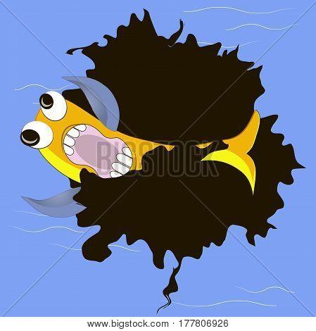Yellow fish in bleak spot on blue ocean, oil pollution vector illustration
