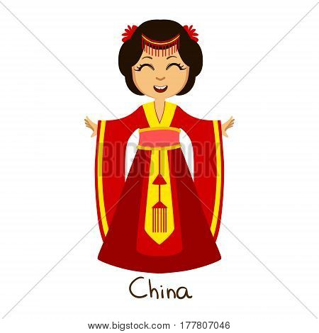 Girl In China Country National Clothes, Wearing Red Dress Traditional For The Nation. . Kid In Japanese Costume Representing Nationality Cute Vector Illustration.
