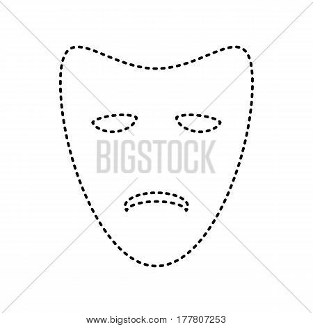 Tragedy theatrical masks. Vector. Black dashed icon on white background. Isolated.
