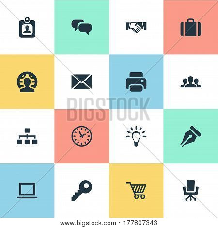Vector Illustration Set Of Simple Commerce Icons. Elements Group, Member, Printing Machine And Other Synonyms Group, Timer And Mind.