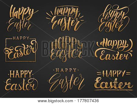 Happy Easter handwritten lettering set. Religious calligraphy collection on black background for greeting or invitation cards, festive tags, posters etc.