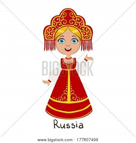 Girl In Russia Country National Clothes, Wearing Sarafan And Headdress Traditional For The Nation. Kid In Russian Costume Representing Nationality Cute Vector Illustration.