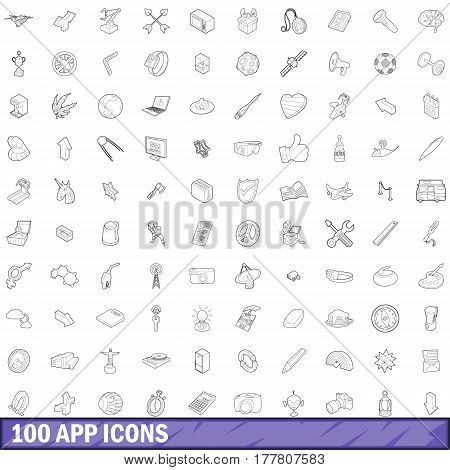 100 app icons set in outline style for any design vector illustration