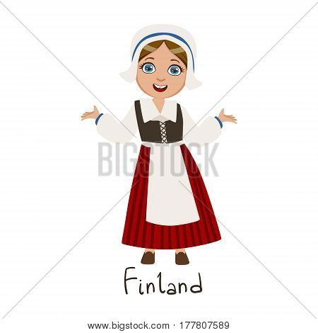 Girl In Finland Country National Clothes, Wearing Bonnet And Corset Traditional For The Nation. Kid In Finnish Costume Representing Nationality Cute Vector Illustration.