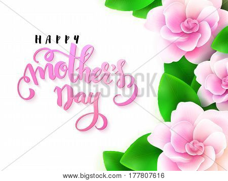 vector illustration of mothers day greetings card with hand lettering - happy mothers day with gardenia flowers.
