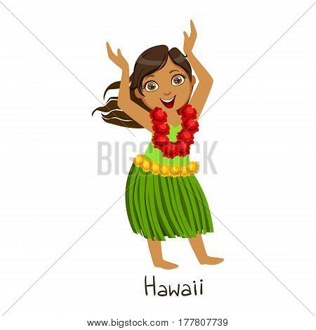 Girl In Hawaii Country National Clothes, Wearing Leaf Skirt And Neck Flower Garland Traditional For The Nation. Kid In Hawaiian Costume Representing Nationality Cute Vector Illustration.