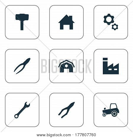 Vector Illustration Set Of Simple Build Icons. Elements Clipping Tool, Wrench, Manufacture And Other Synonyms Industry, Gears And Instrument.