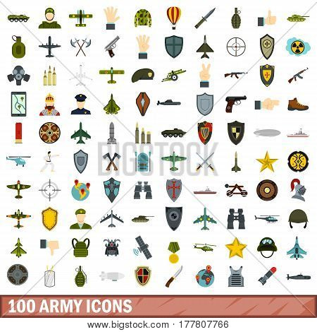 100 army icons set in flat style for any design vector illustration