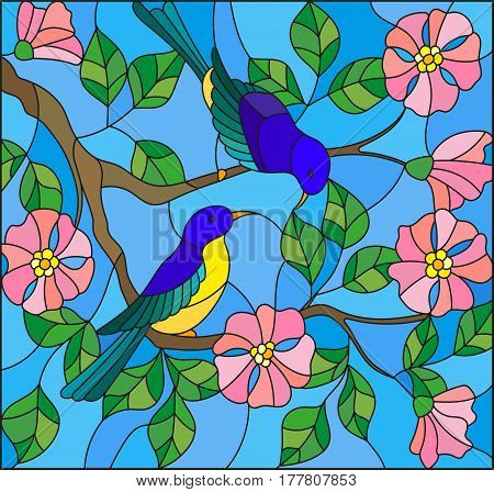 Illustration in stained glass style with two two bright birds on the branches of blooming wild rose on a background sky