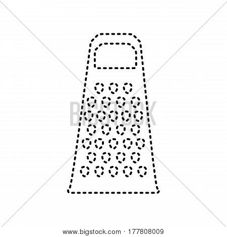 Cheese grater sign. Vector. Black dashed icon on white background. Isolated.