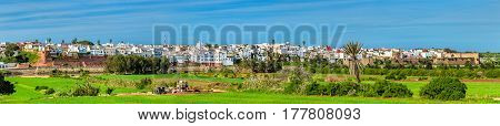 Panorama of Azemmour, a town on the bank of Oum Er-Rbia River in Morocco, North Africa