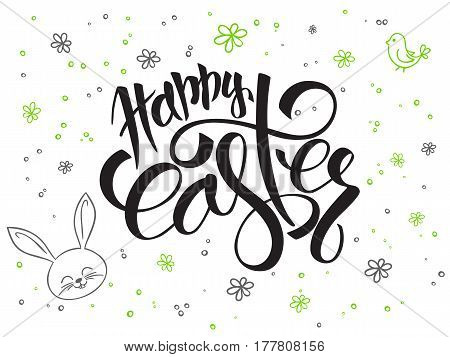vector hand lettering greetings text - happy easter with doodle flowers, rabbit and bubbles.