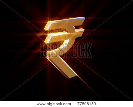 three-dimensional image of the golden symbol of the Indian rupee among colored rays