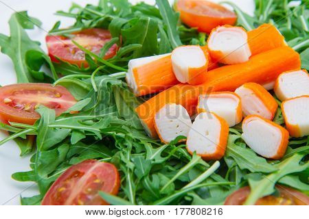 Surimi With Rocket And Cherry Tomatoes