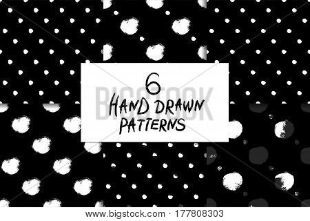 Vector seamless pattern set with circles brush strokes. Black and white doodle. Six Grunge backgrounds. Abstract hand drawn illustrations. Polka dot