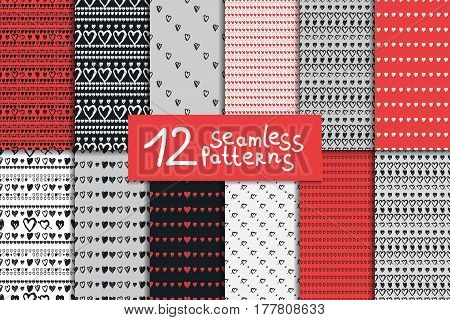 Big doodle seamless pattern set with hearts. Red black and white vector valentines day backgrounds.