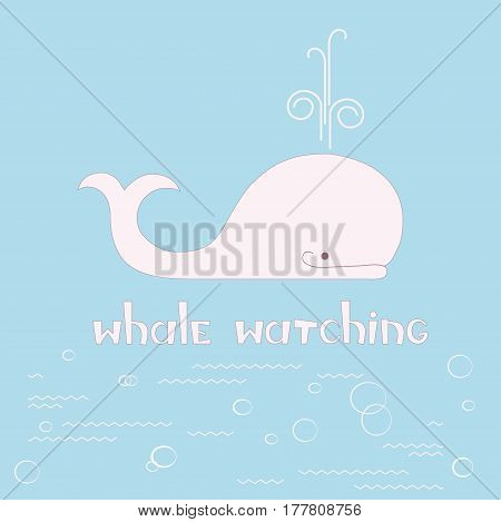 Flat style logotype template with cute light pink whale on blue stock vector illustration