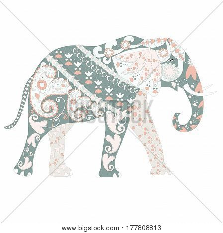 Hand drawn ornamental colorful elephant for coloring page and print, stock vector illustration