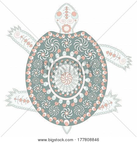 Hand drawn ornamental colorful cartoons turtle for coloring page and print, stock vector illustration