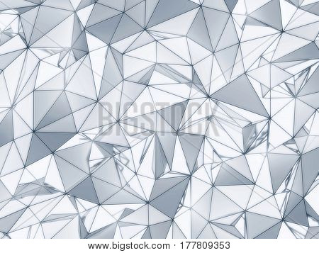 3D illustration - White and blue low poly texture