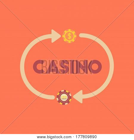 flat icon on stylish background poker casino chips