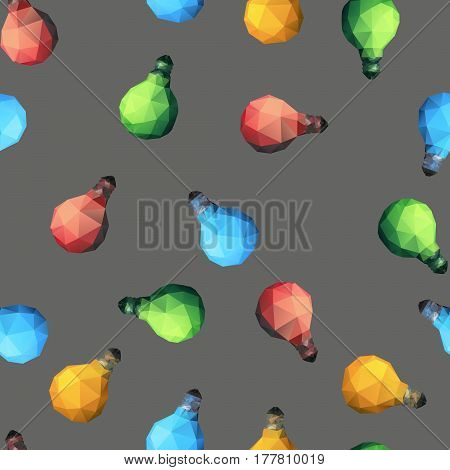 Vector seamles pattern with light bulbs. Colorful Low poly lamps illustration.