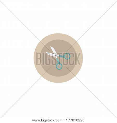Illustration Icon Scissors In Circle On Flat Design
