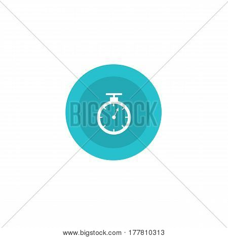 Illustration Icon Stopwatch Blue In Circle On Flat Design