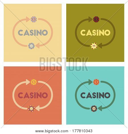 assembly of flat icons poker casino chips