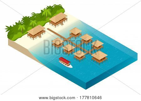 Luxury overwater thatched roof bungalow in a honeymoon vacation resort in the clear blue lagoon with a view on the tropical island. Tropical vacations. Isometric vector illustration.