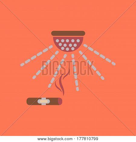flat icon on stylish background poker cigar smoke alarm