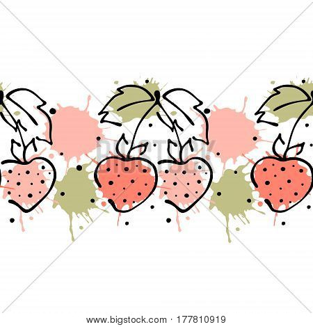 Vector Fruits Seamless Pattern. Decorative Border Orange With Leaves, Decorative Elements, Blots, Dr