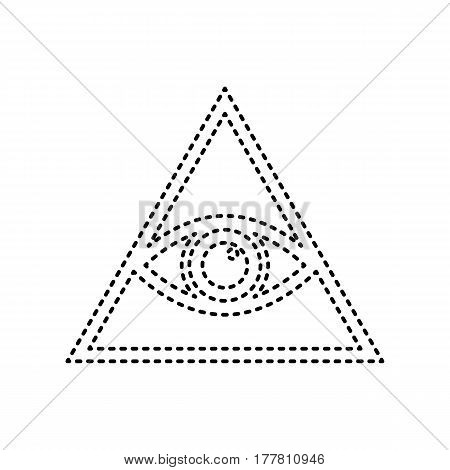 All seeing eye pyramid symbol. Freemason and spiritual. Vector. Black dashed icon on white background. Isolated.
